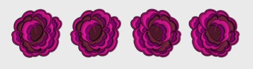 Nr.15 4 roser stor ramme