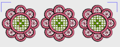 Nr.34 tre rosa blomst liten ramme