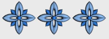 Nr.35 tre blå blomst liten ramme