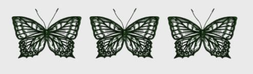 Nr.5 tre sommerfugl stor ramme