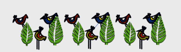 Nr.64 fugl i tre stor ramme